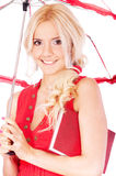 Girl with sun-protection parasol Stock Images