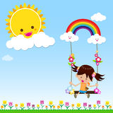 Girl with Sun Rainbow and Cloud 002. Smile girl playing the swing under a sun and rainbow with white cloud, blue sky, vector EPS10 Stock Photos