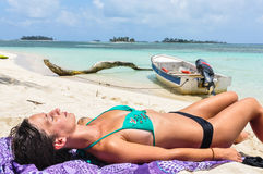 Girl Sunbath at San Blas tropical Islands. Caribbean, Panama. Stock Photos