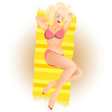 Girl sunbathe. Beautiful girl lying on the beach and sunbathe Stock Photography