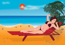 Girl sunbathes Royalty Free Stock Image