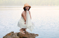 Girl sunbathes Royalty Free Stock Images