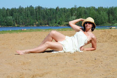 Girl sunbathes Royalty Free Stock Images