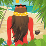 Girl sunbathes on the beach Royalty Free Stock Images