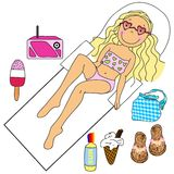 A Girl Sunbathing. A Tween/Teen Girl Sunbathing, Surrounded By Summery Icons You Can Use For Anything Stock Images