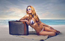 Girl sunbathing Royalty Free Stock Images