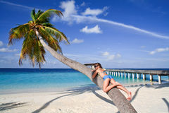 Girl sunbathing on a palm Stock Image