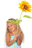 Girl with sunflower Stock Images