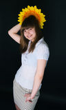Girl and sunflower Royalty Free Stock Photo