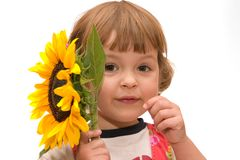 Girl with sunflower Royalty Free Stock Photos