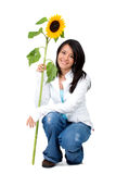 Girl with a sunflower Royalty Free Stock Images