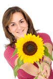 Girl with a sunflower Royalty Free Stock Photos