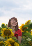 The girl and a sunflower Stock Photography