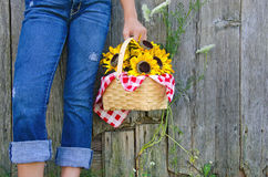 Girl with sunflower basket Royalty Free Stock Photos