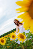 Girl in sunflower field Stock Image