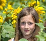 Girl in sunflower field Royalty Free Stock Photography