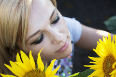 Girl in sunflower Stock Photo