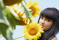 Girl with sunflower under blue sky Royalty Free Stock Photo
