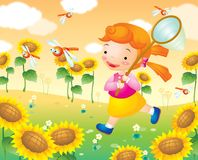 Girl and sunflowergarden Stock Images