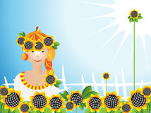 Girl sunflowers Royalty Free Stock Image