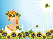 Girl sunflowers Royalty Free Stock Image