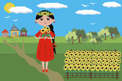 Girl with sunflowers. Girl with sunflowers in the red dress, in the field Stock Image