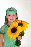 Girl with sunflowers royalty free stock photo