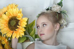 Girl with sunflowers Stock Photo