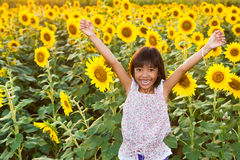 Girl in the sunflowers field Royalty Free Stock Photos