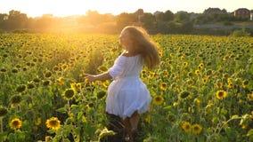 Girl in sunflowers field stock video
