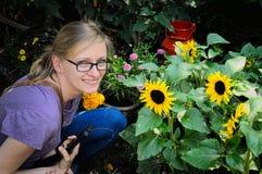 Girl among sunflowers. Girl in the garden Stock Photos