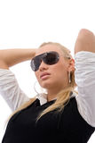 Girl with sunglass. Beautiful girl with sunglass on white background Royalty Free Stock Photos