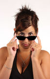 Girl with sunglasses. On white background Royalty Free Stock Photography