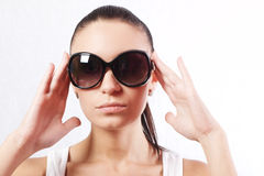 Girl in the sunglasses. Closeup Stock Image