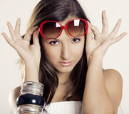 Girl with sunglasses Royalty Free Stock Photos