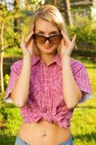 Girl with a sunglasses Stock Image