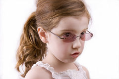 Girl in sunglasses. Cute little four year old in sunglasses Stock Images