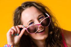Girl and sunglasses Stock Photos