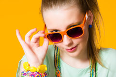 Girl and sunglasses Royalty Free Stock Images