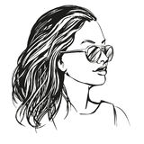 Girl in sunglasses , beautiful woman face hand drawn vector illustration sketch Stock Photos