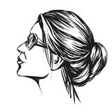Girl in sunglasses , beautiful woman face hand drawn vector illustration sketch Stock Photo