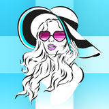 Girl in sunglasses and big hat vector Royalty Free Stock Images
