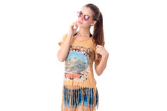 Girl in sunglasses and casual summer clothes Royalty Free Stock Photo