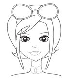 Girl with sunglasses coloring page Stock Image