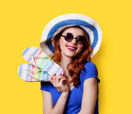 Girl in sunglasses with flip flops Royalty Free Stock Photos
