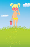 Girl in sunglasses on the lawn Royalty Free Stock Photo
