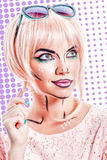 Girl with sunglasses and makeup in style pop art on colored back Royalty Free Stock Image