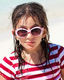 Girl with sunglasses and messy hair Royalty Free Stock Photography