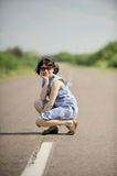 Girl on Road Royalty Free Stock Photo