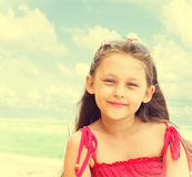 Girl in sunglasses seaside Royalty Free Stock Image